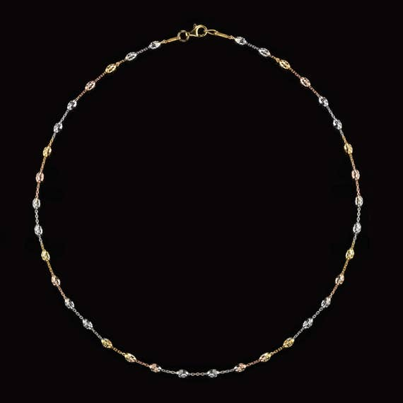 ITALIAN WHITE GOLD PLATED 925 STER SILVER SPARKLY DC BALL+BEAD CHAIN NECKLACE