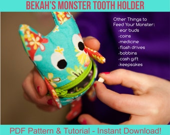 Bekah's Monster Tooth Holder - pdf Sewing Pattern and Tutorial - Ear bud pouch, cash gift holder, coin purse, lost tooth fairy pillow