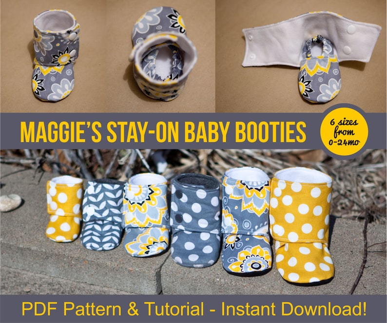 Maggie's Stay-On Baby Booties Sewing Tutorial Printable image 0