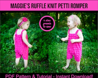 Maggie's Ruffle Knit Petti Romper Pattern and Tutorial Baby Girl Sewing Patterns Infant Dress Sewing Pattern PDF baby dress pattern
