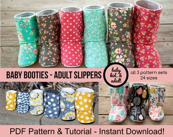 Bootie Pattern Bundle - Baby, Kids, Tween/Adult, and Doll Bootie Sewing Patterns - PDF Instant Download - House Slippers Boots DIY Maggie