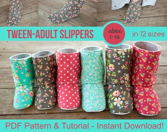Tween & Adult Slipper Pattern - pdf Sewing Pattern for Men's or Women's Slippers - Boot Pattern - DIY House Slippers - Kid Slippers Boots