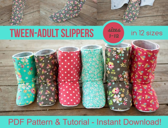 Tween & Adult Slipper Pattern pdf Sewing Pattern for | Etsy