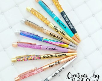 Glitter fall pen - Floating glitter pen - ball point pen - Glitter pen - retractable pen - writing supply - decorative pen - metal pen