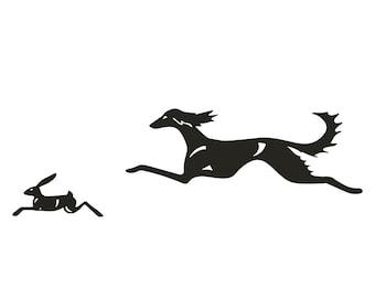 Saluki jumping with hare, dog silhouette, LeChienArtistiQ