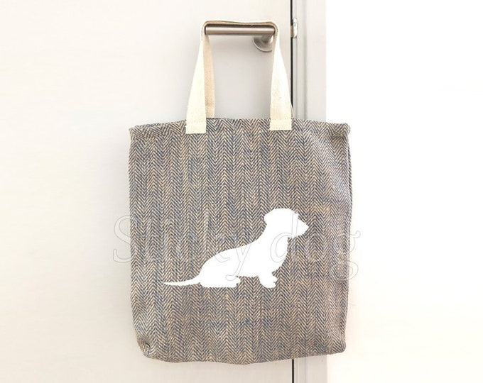 Canvas/linen bag Wire-haired Dachshund - Teckel dog silhouette