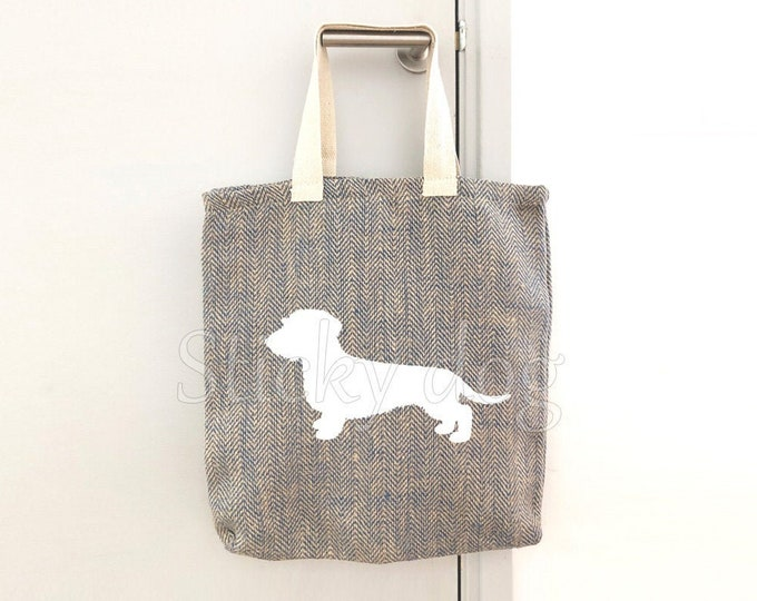 Canvas/jut bag Wire-haired Dachshund - Teckel dog silhouette