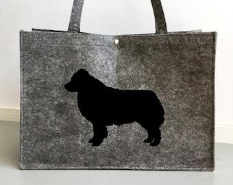 Felt bag Australian Shepherd silhouette