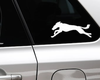 Saluki running silhouette dog sticker