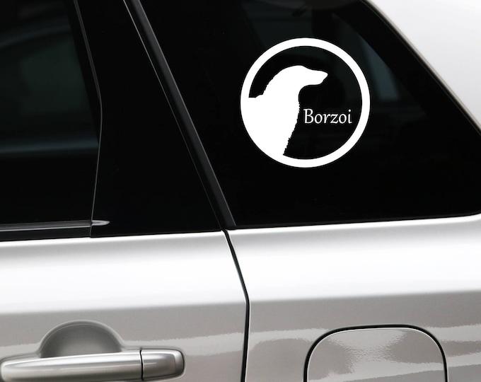 Barzoi silhouette in cirkle dog sticker