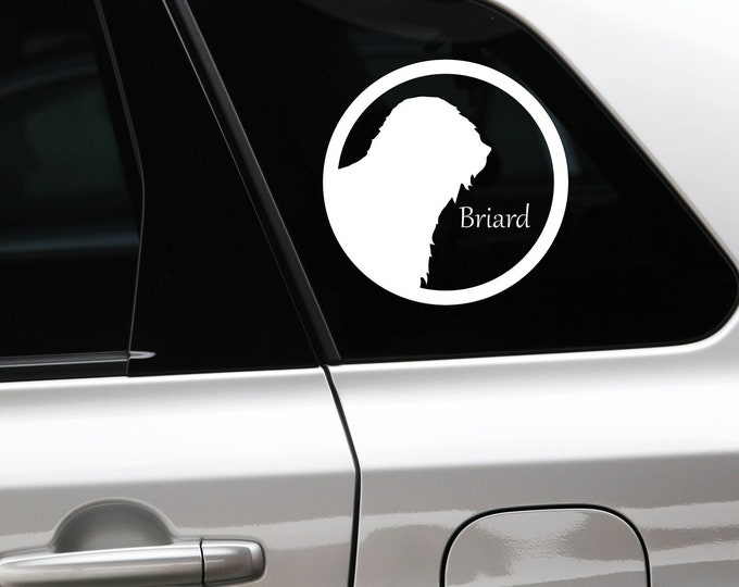Briard silhouette in cirkle dog sticker