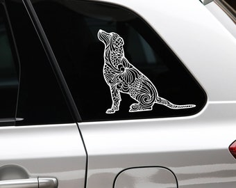 Labrador retriever sitting art dog silhouette sticker