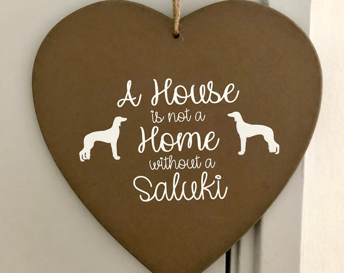 Saluki silhouette dog silhouette wooden heart board with text
