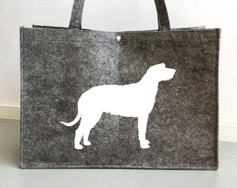 Felt dog bag Irish Wolfhound dog silhouette