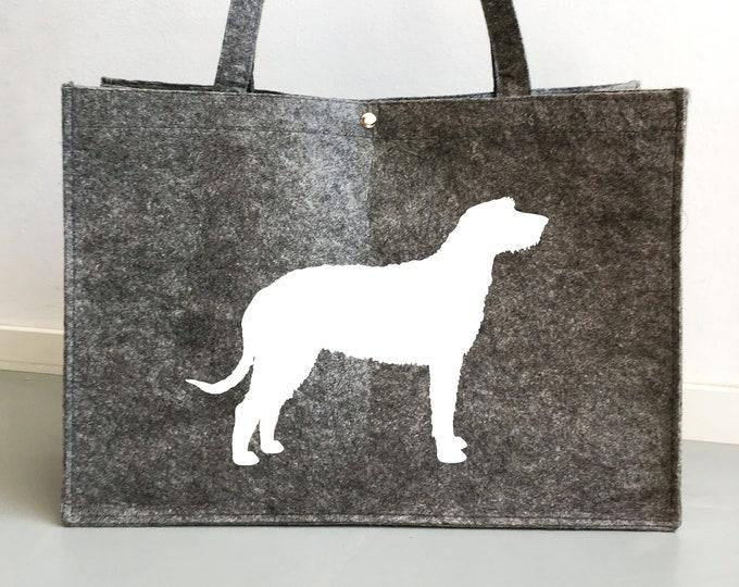 Felt dog bag Irish Wolfhound dog silhouette