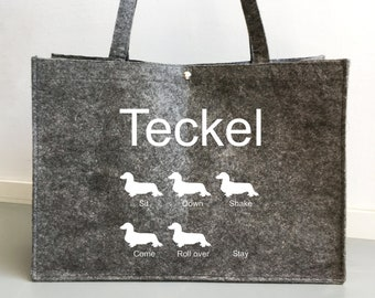 Felt bag long-haired Dachshund - Teckel dog silhouette