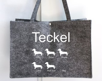 Felt bag smooth-haired Dachshund - Teckel dog silhouette