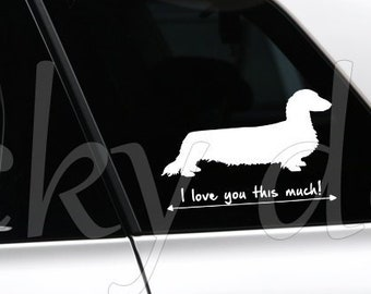 Long-haired Dachshund - Teckel silhouette dog sticker
