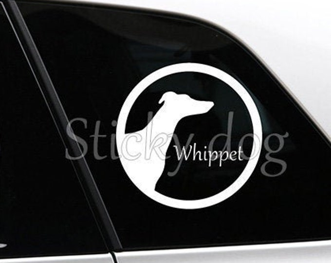 Whippet silhouette in cirkle dog sticker