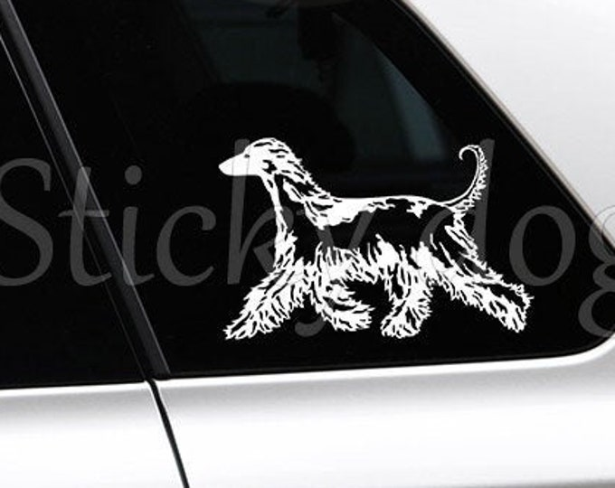Afghan hound silhouette dog sticker