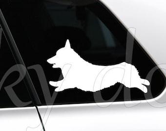 Pembroke Welsh Corgi running silhouette dog sticker