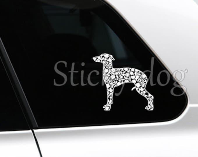 Italian greyhound/ sighthound renaissance patron dog silhouette sticker