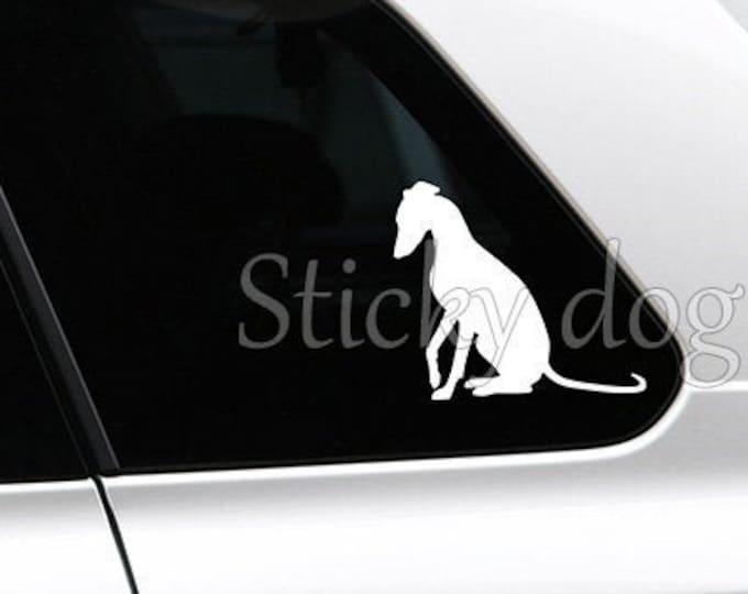 Whippet sitting silhouette dog sticker