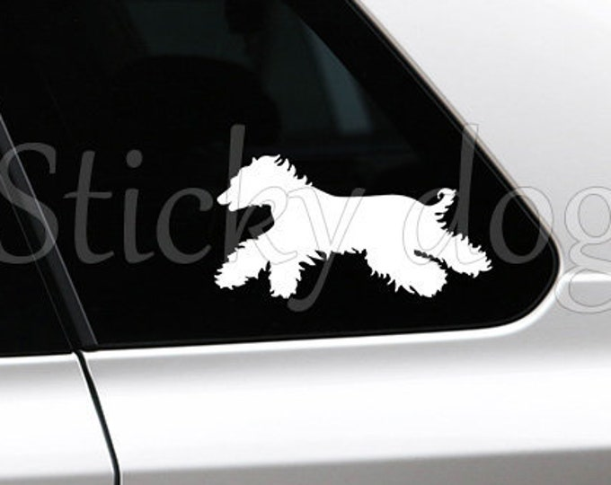 Afghan hound running silhouette dog sticker