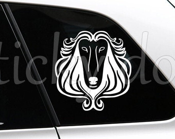 Afghan hound head art dog silhouette sticker