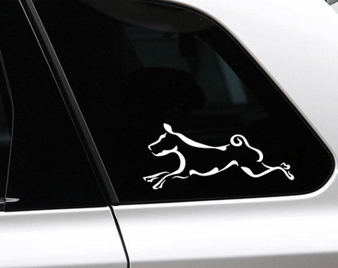 Basenji running silhouette dog sticker