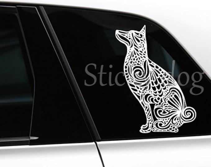 Basenji sitting art dog silhouette sticker