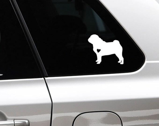 Pug silhouette dog sticker