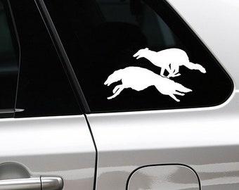 Borzoi running dog silhouette sticker