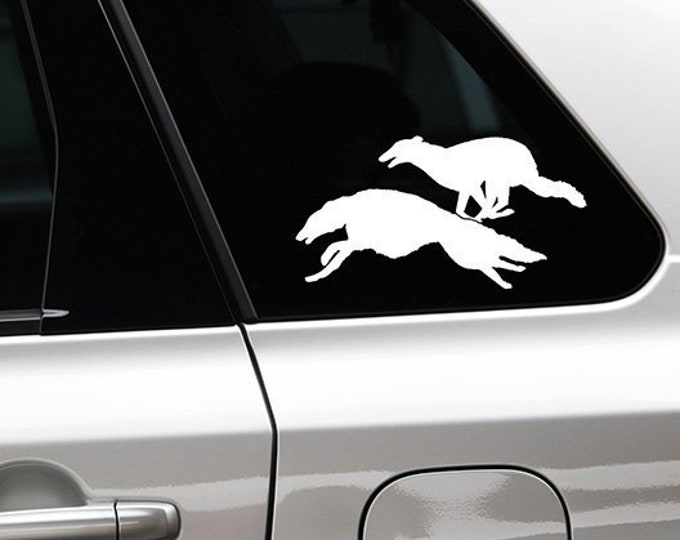Borzoi running dog silhouette sticker