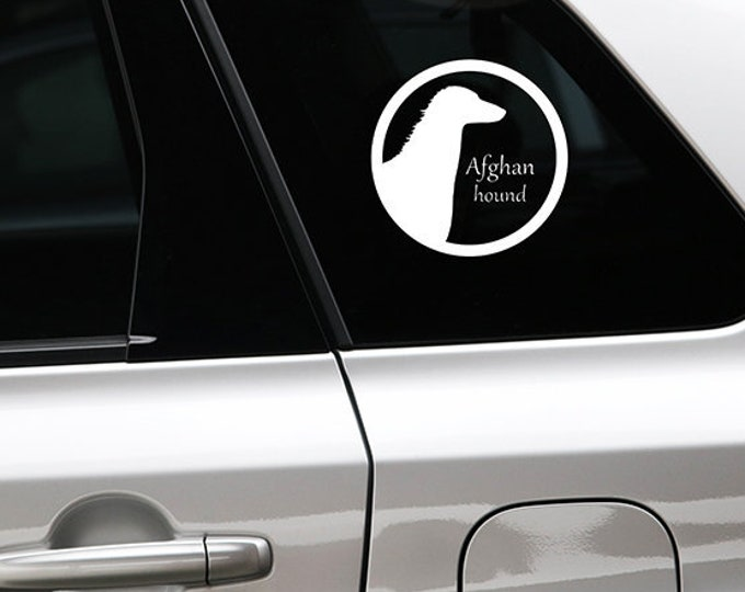 Afghan hound silhouette dog sticker