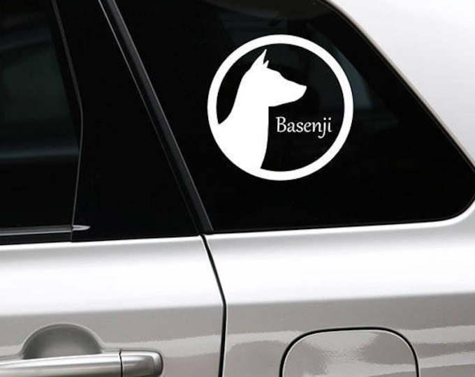 Basenji silhouette in cirkle dog sticker