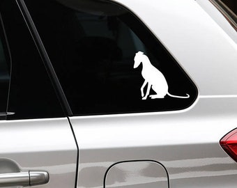 Whippet sitting silhouette dog sticker