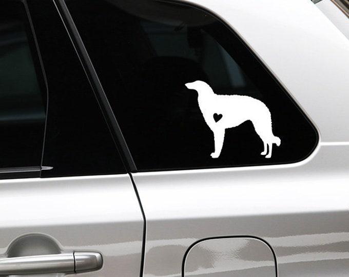 Borzoi silhouette dog sticker