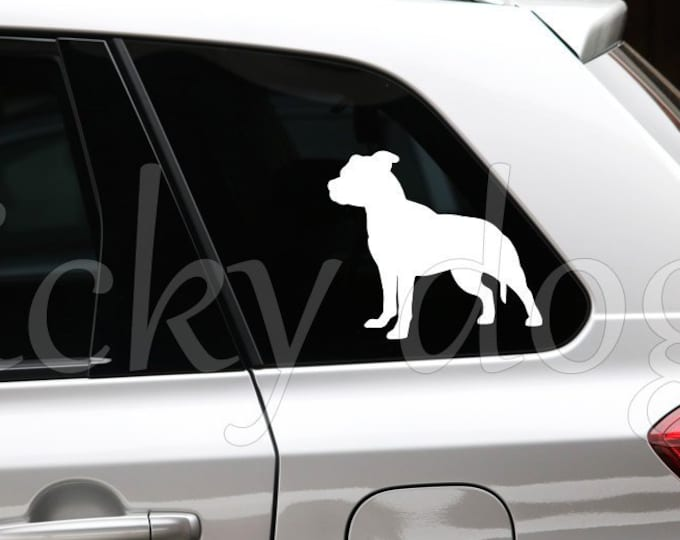Staffordshire Bull Terrier silhouette dog sticker