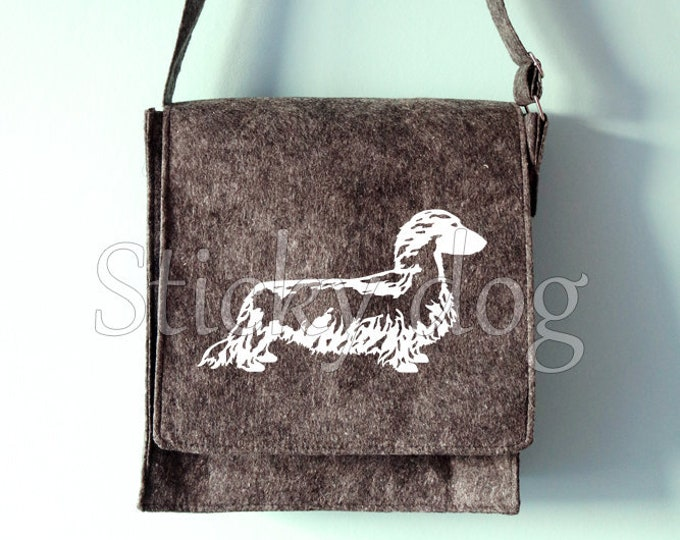 Felt shoulder bag Long-haired Dachshund - Teckel dog silhouette