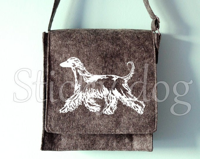 Felt dog shoulder bag Afghan hound dog silhouette