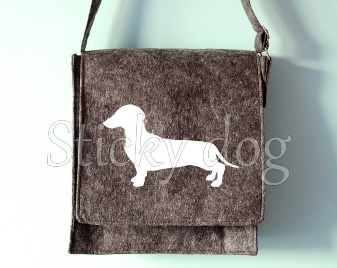 Felt shoulder bag Short-haired Dachshund - Teckel dog dog silhouette