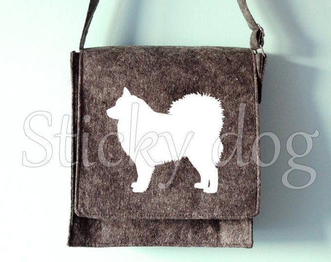 Felt shoulder bag Finnish Lapphund dog silhouette
