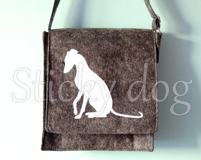 Felt dog shoulder bag Whippet dog silhouette