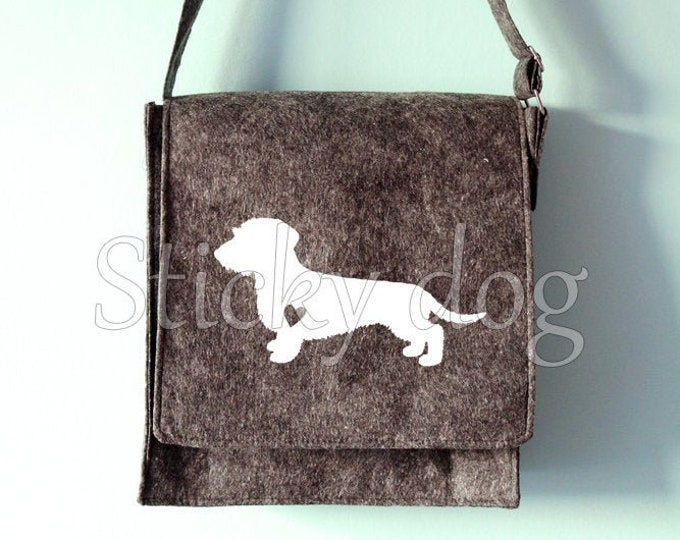 Felt shoulder bag Wire-haired Dachshund - Teckel dog silhouette
