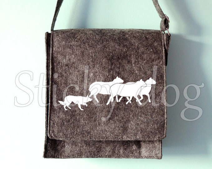 Felt shoulder bag Border Collie dog silhouette