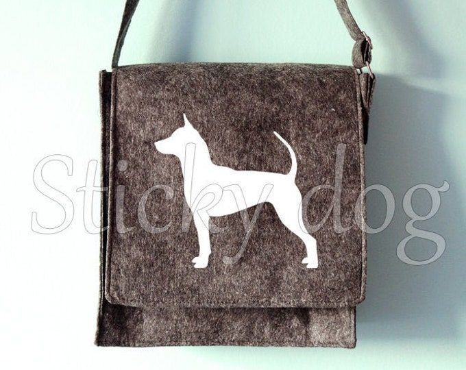 Felt shoulder bag Thai Ridgeback dog silhouette
