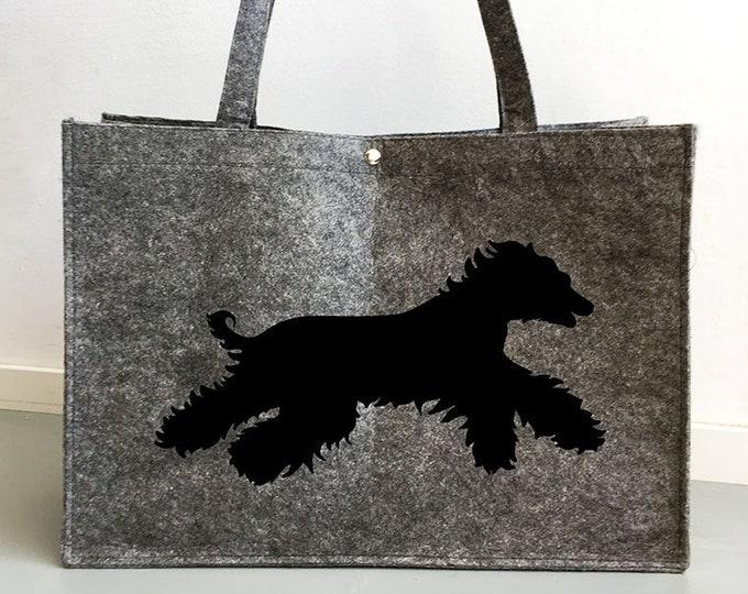 Felt bag Afghan running hound dog silhouette