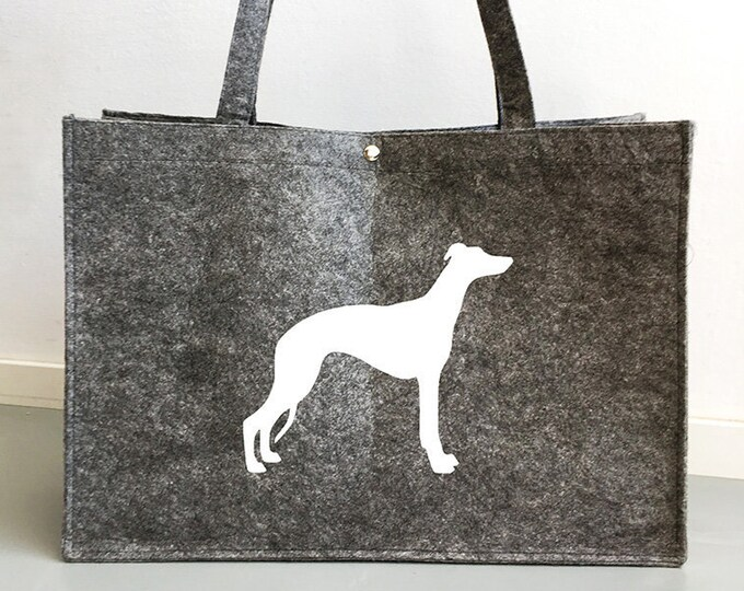 Felt bag Whippet dog silhouette