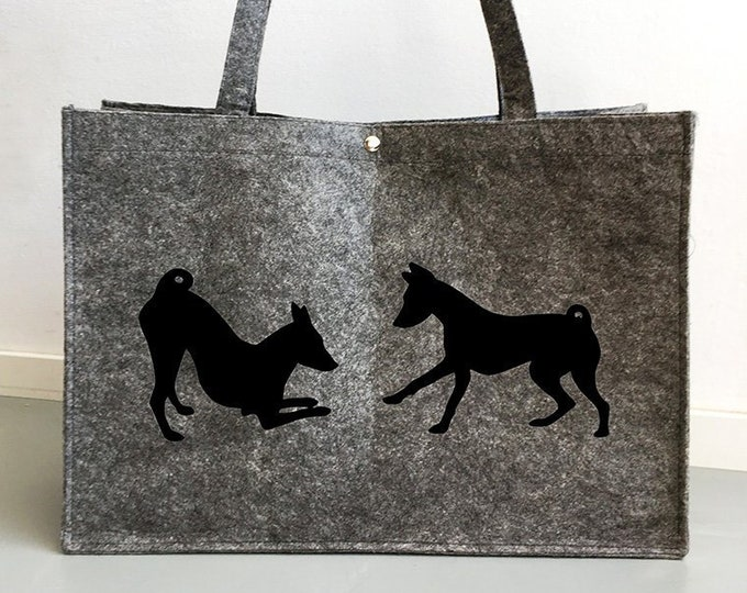 Felt bag Basenji playing silhouette dog